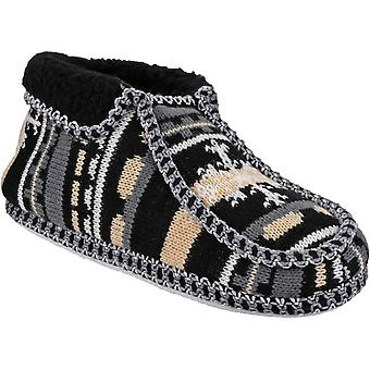 Divaz Ladies Norway Loose Slip On Stitch Detail Fleece Slipper Black