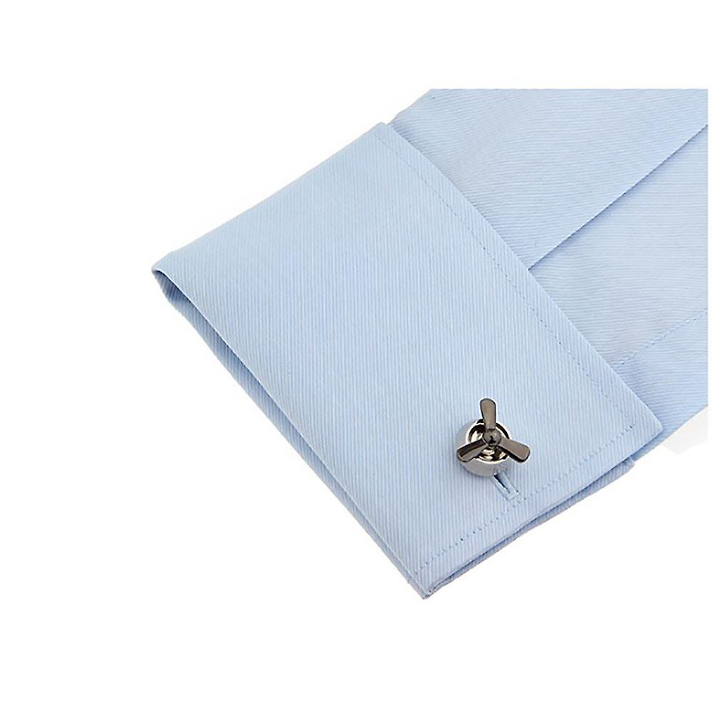 Luxury Spinner Propeller Cufflinks Silver Helicopter Pilot Airplane Jet