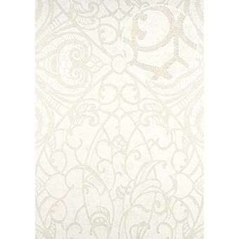 Baroque wallpaper ATLAS CLA-597-3 non-woven wallpaper marked with graphic pattern shiny white beige grey white 5.33 m2