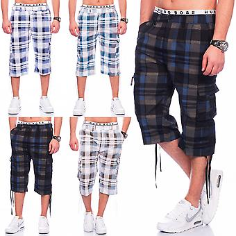 Men's Cargo Shorts short 3/4 Pants of Bermuda Plaid of stretch Federal summer