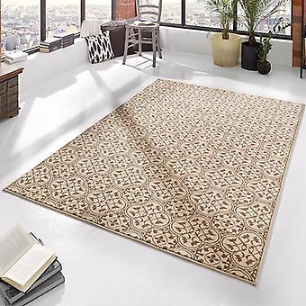 Patrón de la alfombra de diseño terciopelo marrón crema | 102413