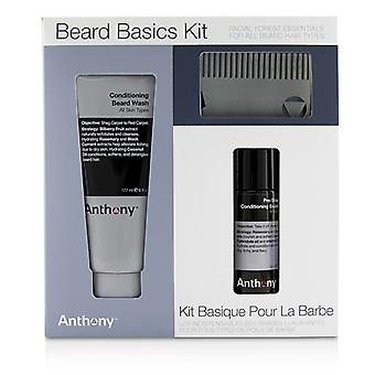 Anthony Beard-Grundlagen-Kit: 1 x Klimaanlage Bart Wash 177ml, 1 x Pre-Shave + Klimaanlage Bart Öl 59 ml, 1 X Bart Kämmen 3pcs