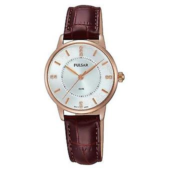 Pulsar Womens Silver Patterned Dial Brown Strap PH8180X1 Watch