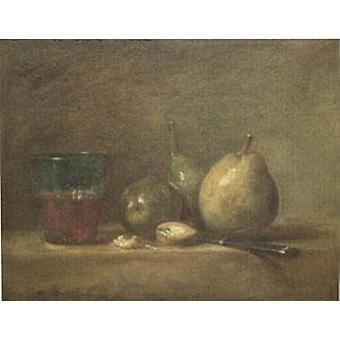 Pears, Walnuts and a Glass of Wine, Jean Baptiste Simeon Chardin, 33x41cm