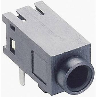 2.5 mm audio jack Socket, horizontal mount Number of pins: 3 Stereo Black Lumberg 1501 05 1 pc(s)