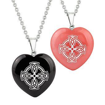 Herz Amulette Viking keltisches Kreuz Kreis Liebe Paare Beste Freunde Achat simuliert Quarz Halsketten