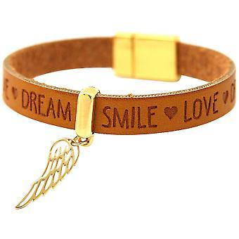 Gemshine Armband Schutz Engel Flügel Silber Vergoldet Vergoldet WISHES Braun