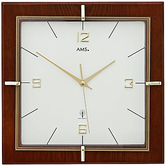 AMS wall clock 5834 radio Walnut colours lacquered, Mineralglas printed in gold-coloured
