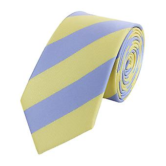 Schlips Krawatte Krawatten Binder Breit 6cm Gelb/Blau gestreift Fabio Farini