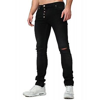 Tazzio fashion men's denim trousers with knee slots black