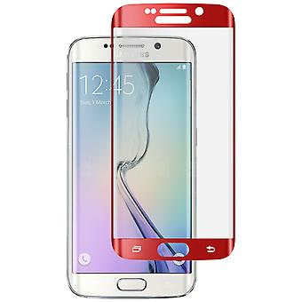 Curved tempered glass screen protector for Samsung Galaxy S6 Edge - Red