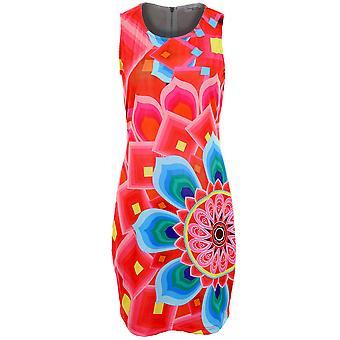 Ladies Multi Colour Panel Print Patterned Zip Back Women's Stretch Bodycon Dress