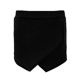Damen intelligente Wrap vorne asymmetrischer Saum Mini Culottes Skirt Plain Hotpant Shorts