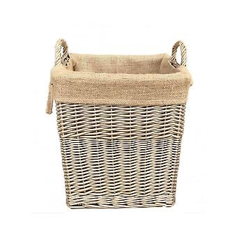 Small Rectangular Hessian Lined Log Basket
