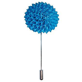 Bassin und braune große Blume Anstecknadel - blau