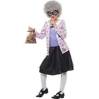 David Walliams Deluxe Gangsta Granny Costume Kids Purple Black Jacket Skirt Wig Wig Chain Bag Kids Costume
