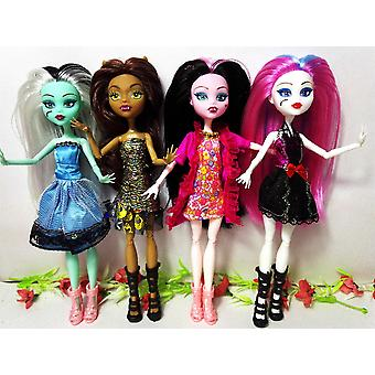 4 PCs/party style monster high Dolls Draculaura Monster fun hight movable Joint, children best fashion dolls