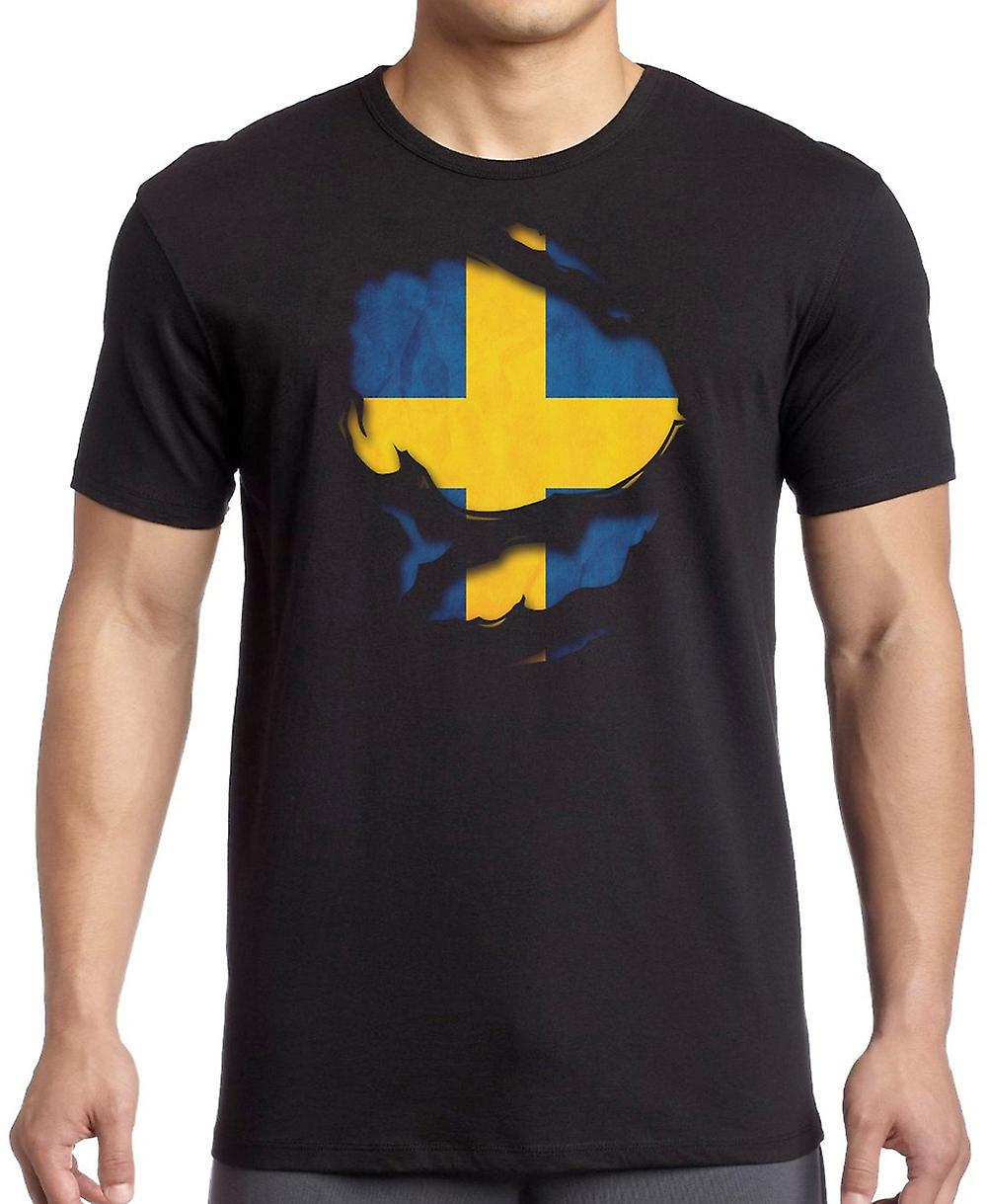 Sweden Swedish Ripped Effect Under Shirt Kids T Shirt