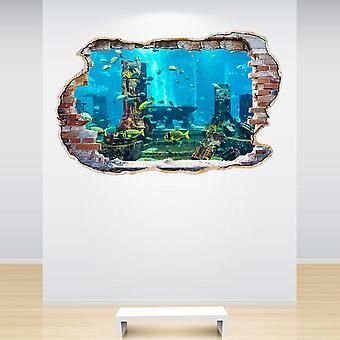 Full Colour Aquarium Smashed Wall 3D Effect Wall Sticker