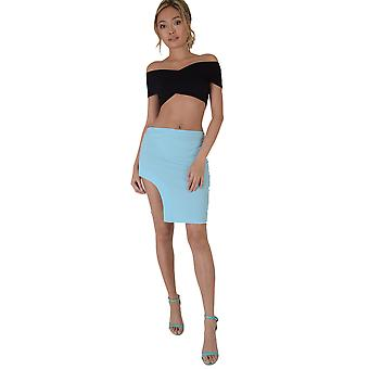 LMS Turquoise Blue Bodycon Skirt With Curved Split Hemline - SAMPLE