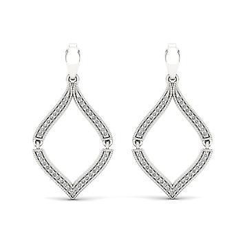 S925 Sterling Silver 0.20Ct Natural Round Cut Diamond Dangle Earrings HI