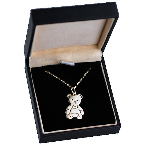 9ct Gold 21x19mm Teddy Bear with Rolo chain