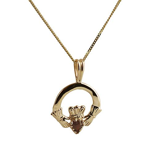 9ct Gold 20x15mm garnet set Claddagh Pendant with a curb Chain 16 inches Only Suitable for Children