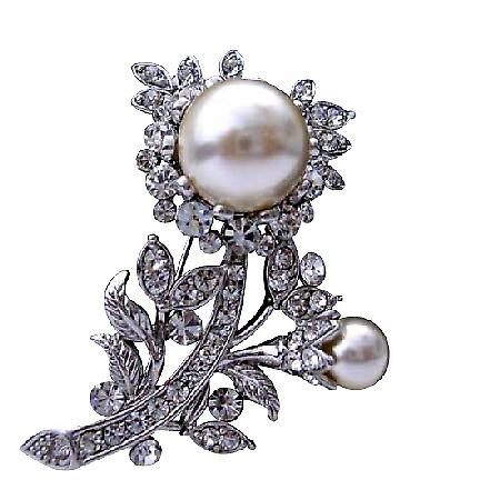 Wedding Jewelry Pearls Fully Embedded Cubic Zircon Bridal Dress Brooch