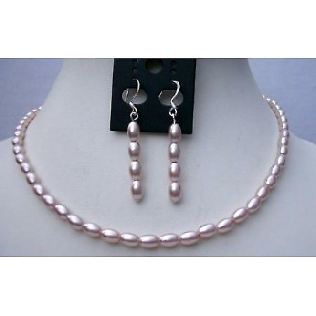 Simulated Freshwater Pearl Rice Necklace Set Good Quality  w/ Sterling Silver Earrings