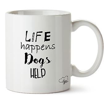 Hippowarehouse Life Happens Dogs Help 10 oz Mug