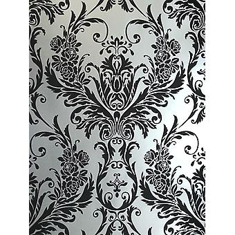 Debona Damask Medina Flock Effect Silver Black Luxury Feature Wall Wallpaper