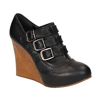 Charlotte Olympia Black Leather Wedges