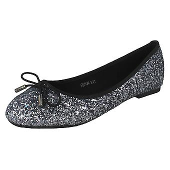 Ladies Anne Michelle Glittery Ballerina Shoes
