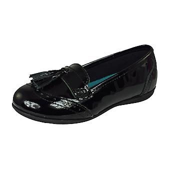 Hush Puppies Esme Jnr Girls Leather Slip On School Shoes / Loafers - Black