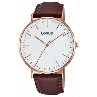 Lorus Mens Brown Leather Strap White Dial RH880BX9 Watch