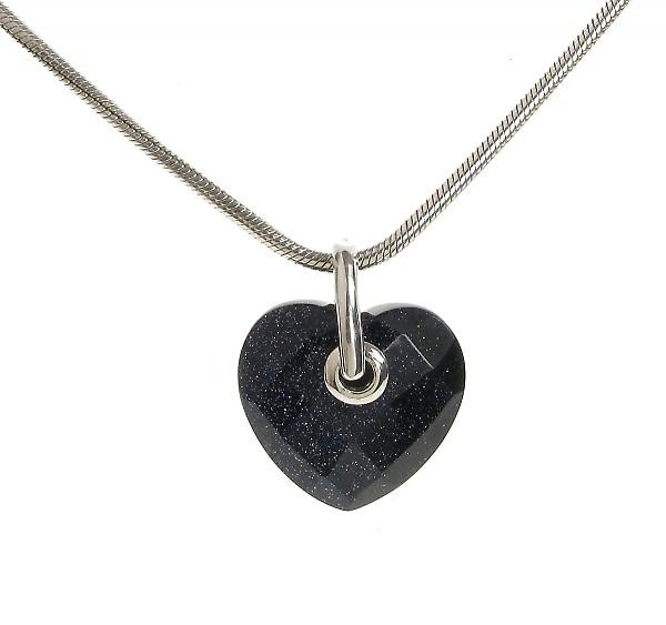 Cavendish French Simple Faceted Blue Sandstone Heart Pendant