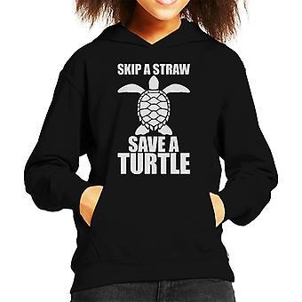 Skip A Straw Save A Turtle Kid's Hooded Sweatshirt