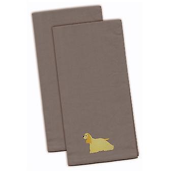 Кокер спаниель серый Вышитые кухонные полотенца комплект из 2