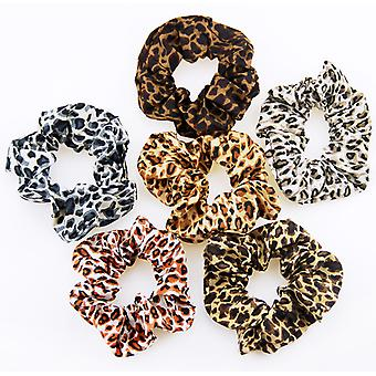 Leopard print hair scrunchies (pack of 10)