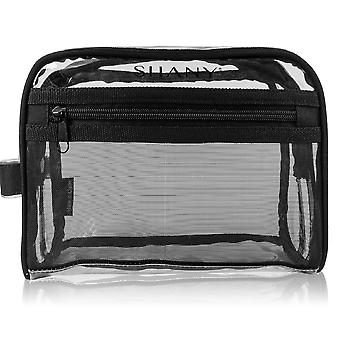 SHANY Clear Toiletry and Makeup Bag with Plastic Mesh Pocket – Medium Nontoxic Travel Organizer with Handle – Black Mesh