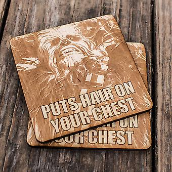 Puts hair on your chest wood coaster set of two 4x4in raw wood