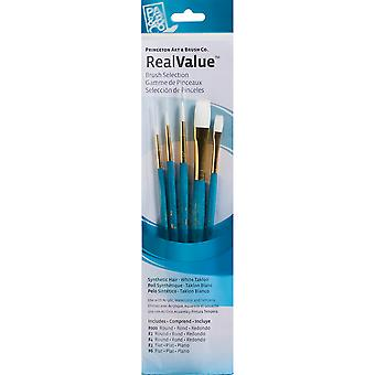 Real Value Brush Set Synthetic White Taklon Round 3 0,2,4, Flat 2,6 P9174
