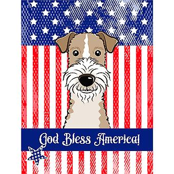 God Bless American Flag with Wire Haired Fox Terrier Flag Canvas House Size BB2177CHF