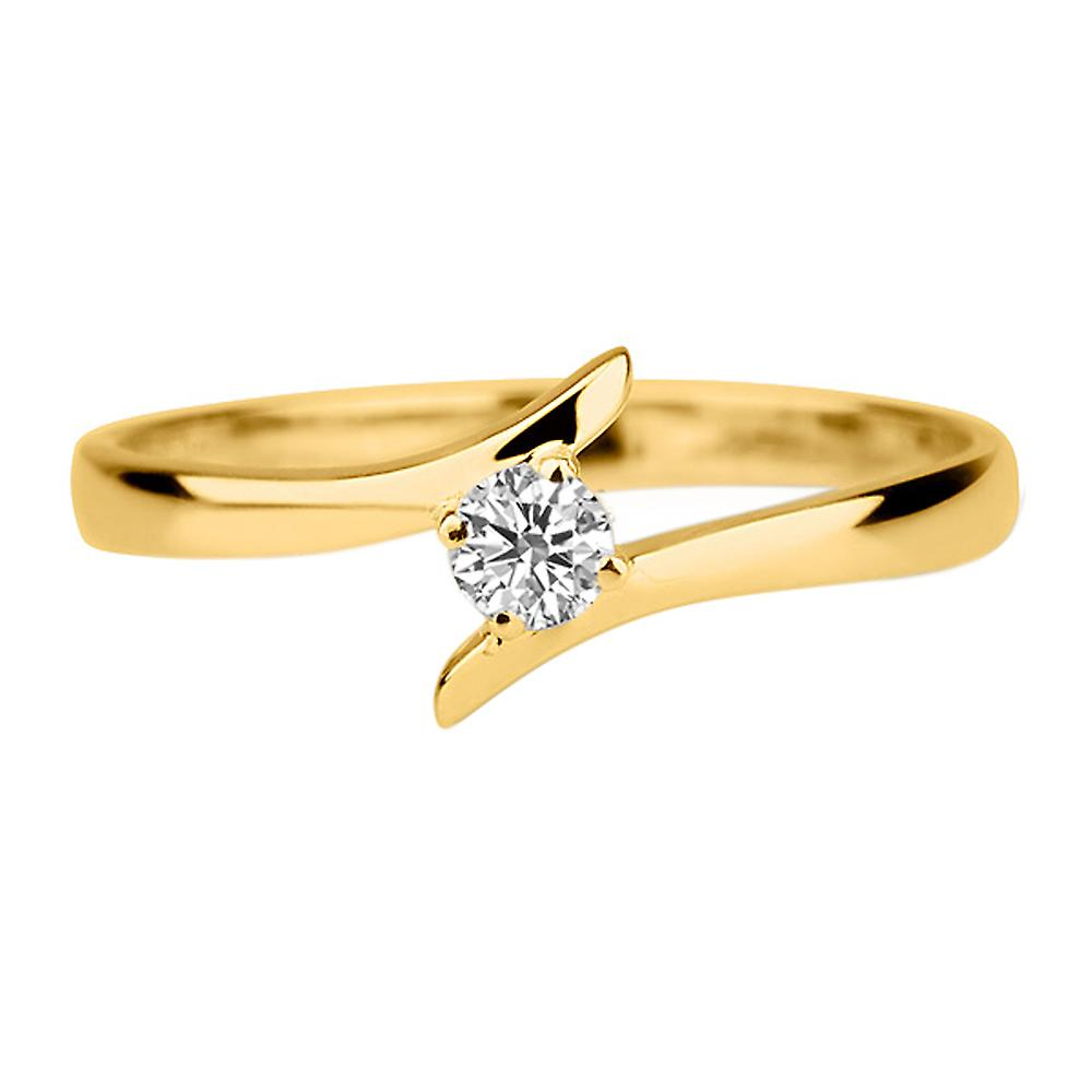 0.4 Carat D VS1 Diamond Engagement Ring 14K Yellow Gold Solitaire Unique Twist