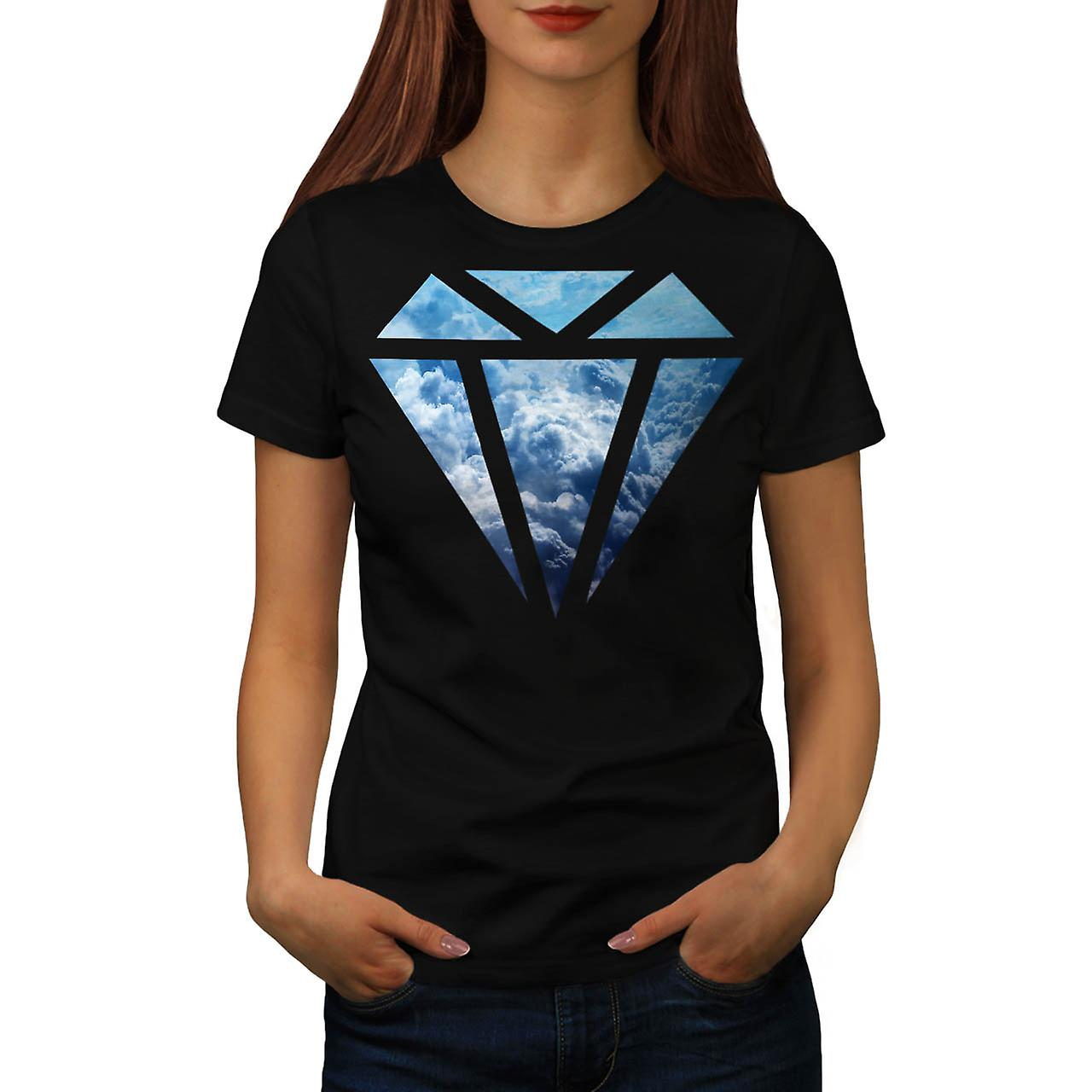 Blue Diamond Sky Cloud Jewel Love Women Black T-shirt | Wellcoda