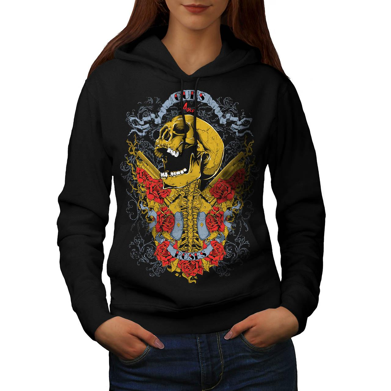 Guns And Roses Skull Music Hero Women Black Hoodie | Wellcoda