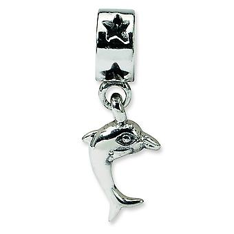 Sterling Silver Polished Antique finish Reflections Dolphin Dangle Bead Charm