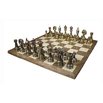 Large Metal Staunton Chess Set With Grey Briar Board