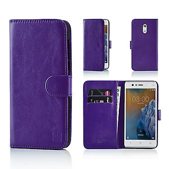32nd Book Leather Wallet Case + stylus for Nokia 3 (2017) - Purple
