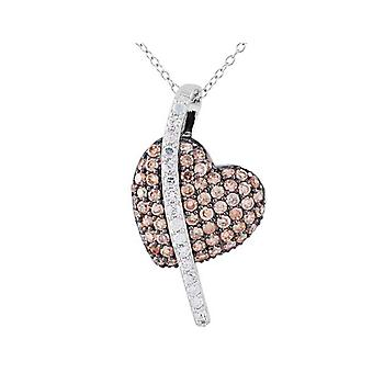 Synthetic White and Champagne Crystal Heart Pendant Necklace in Sterling Silver